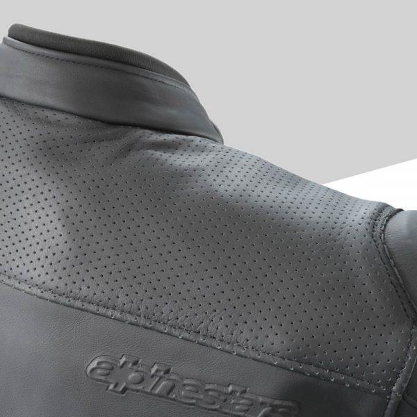 3PW21002520X Empirical Leather Jacket Detail Perforation back mod